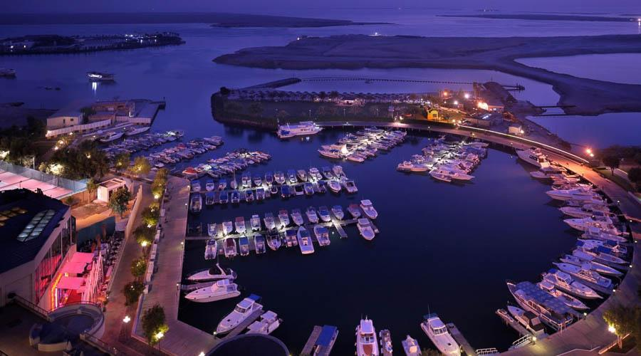 view from the hotel overlooking the marina at night